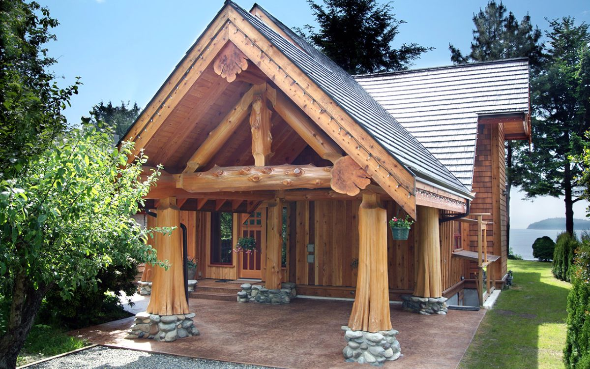 Log Home 39 S Entryway Is Gorgeous But The Inside Will